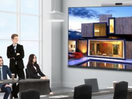 wyświetlacz LG LAA015F podczas wideokonferencji
