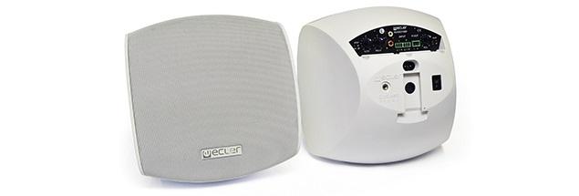 biały głośnik Ecler Audeo 106 widok z przodu oraz z tyłu